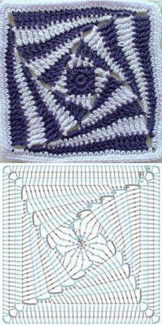 Best 12 Silvina Ponzio's media content and analytics – SkillOfKing. Crochet Squares, Crochet Mat, Crochet Ripple, Granny Square Crochet Pattern, Crochet Flower Patterns, Crochet Diagram, Freeform Crochet, Crochet Crafts, Crochet Stitches