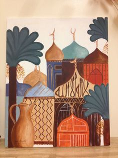 Traditional Iraqi painting done by me لوحة عراقية تشكيلية By Aisha Alhadithi Mediterranean Art, Cubist Art, Hippie Painting, Middle Eastern Art, Arabian Art, Moroccan Art, Islamic Art Calligraphy, Leather Art, Jeddah
