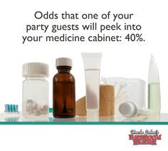 Odds that one of your party guests will peek into your medicine cabinet: 40%.