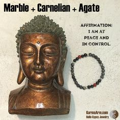 Details  AFFIRMATION: I am at peace and in control.  STRENGTH: Marble + Agate + Carnelian Yoga Mala Bracelet
