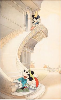Brave Little Tailor/Music Land Mickey Mouse and Minnie Mouse Production Cel and Background Setup (Walt Disney, 1935-39