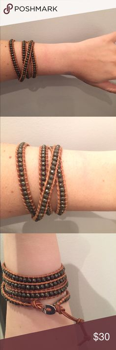 Wrap around / strappy green and brown bracelet Very similar to Chan Luu! Super cute & only worn once Jewelry Bracelets