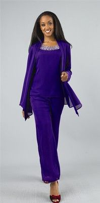 Elegance by Milano 4705 Cocktail Evening Pant Suit Outfit Purple Black or Red | eBay
