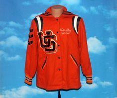 Upper Sandusky High Rams Varsity Tennis Orange Black Hooded Holloway Letterman Jacket Vintage - by nodemo Bluebird Vintage, Blue Denim Shirt, Adidas Jacket, Denim Button Up, 1960s, Hoods, Tennis, Orange, Sleeves