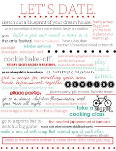 Date Night Ideas -- actually love these, I'm really liking the cookie bake off!!