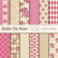 Shabby Chic Digital Paper SHABBY SWEET PINK  by DigitalStories, €2.60