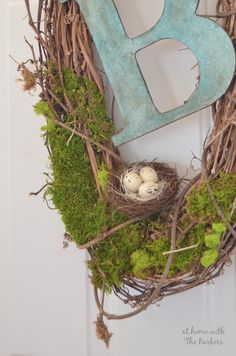 Natural Spring Wreath-Monogram