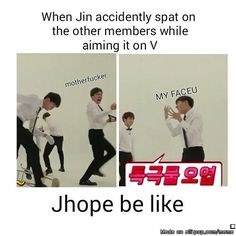 Dirty wateuuur xD   Omg i was laughing so hard at J-Hope's facial expressions xD
