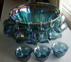 Image detail for -Vintage Indiana Carnival Glass Iridescent Blue Grape Punch Bowl Set ...