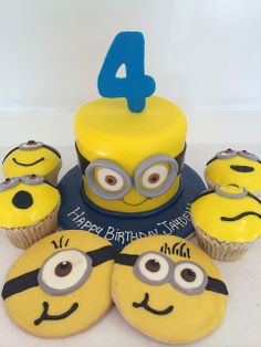 Despicable Me cake, cupcakes, and cookies