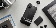 This kit changes the iPhone's ergonomics and adds lenses for more camera-like usage.