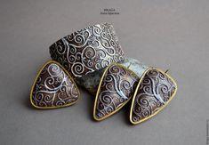 Купить Комплект из полимерной глины с завитками карамельный. - коричневый, карамельные серьги, завитки, Климт