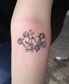 Mickey and Minnie Smooch - Disney Tattoo - tattoos Mickey Tattoo, Mickey And Minnie Tattoos, Tattoo Disney, Disney Couple Tattoos, Cute Disney Tattoos, Disney Inspired Tattoos, Disney Sleeve Tattoos, Mini Tattoos, Body Art Tattoos