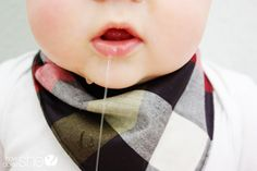 Baby Bandanna Bib | How Does She - saving clean clothes from a drooly baby