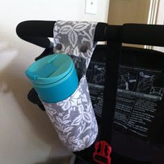 our homegrown spud: DIY jogger drink holder! Baby Sewing Projects, Sewing Hacks, Sewing Tutorials, Sewing Diy, Stroller Cup Holder, Bob Stroller, Wheelchair Accessories, Bike Accessories, Drink Holder