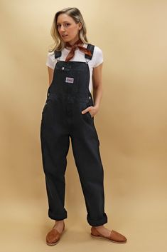 Medium Vintage Ikeda Genuine Classic denim overalls in black with a straight leg (shown cuffed). Size on Label – M Measurements Waist - Hips - Length - Inseam - Rise - Tavistock, Denim Overalls, Black Denim, Legs, Cotton, Pants, Shopping, Fashion, Trouser Pants