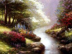 Water Way - flowers, grass, stream, art, trees, thomas kinkade