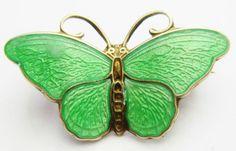 Hroar Prydz Norway Sterling Silver Small Green Enamel Butterfly Brooch Pin | eBay