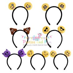 Emoji Party Favors, Emoji Birthday Favors, Emoji theme party, Emoji Headband…
