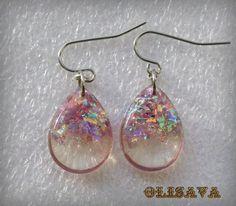 Resin  teardrop  glitter earrings    Resin Jewelry  by Olisava