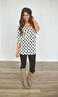 Dottie Couture Boutique - Polka Dot Tunic Dress, $39.00 (http://www.dottiecouture.com/polka-dot-tunic-dress/)