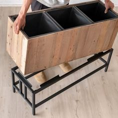 Wood Planter Box, Wooden Planters, Welded Furniture, Home Decor Furniture, House Plants Decor, Plant Decor, Balkon Design, Flower Stands, Plant Shelves