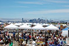 Alameda Point Antiques Fair - look at the killer view of San Francisco in the background!