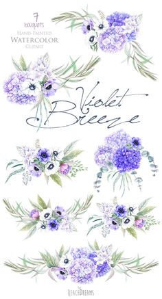 Wedding Watercolor Flowers Anemones Hydrangea von ReachDreams