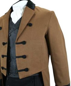 1800s Mens Brown Cotton,Velvet Solid Notch Collar Tail Coat   19th Century…