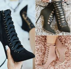 Buckle Ankle Lace Up Stiletto Boots-Zeelous Street Style