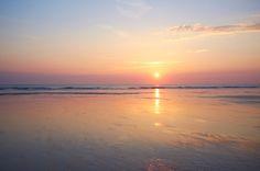 Stock Photo : Sunset at beach.
