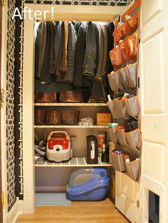 Organized Coat Closet - rod hung higher