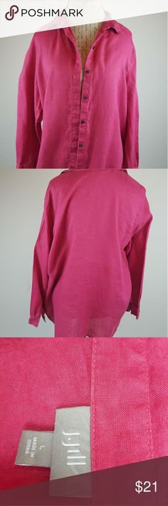 J.Jill Long Sleeve Women's  Shirt PINK J. Jill Long Sleeve Large Button down Front Shirt J. Jill Tops Button Down Shirts