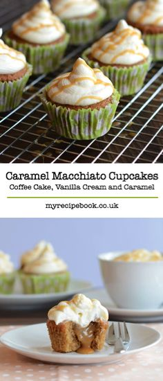 Caramel Macchiato Cupcakes – Delicious coffee sponge with a hidden caramel centre, topped with whipped vanilla cream and drizzled with a bit more caramel.