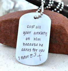 Cast all your anxiety on him because he cares for you 1 Peter Bible Verse Jewelry Dog Tag Necklace for Men Scripture Jewelry , click now. Trendy Tattoos, Tattoos For Guys, Men Necklace, Dog Tag Necklace, Pendant Necklace, 1 Peter 5, Understanding Anxiety, Bible Verses Quotes, Christ