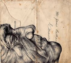 Drawings on envelopes, by Mark Powell
