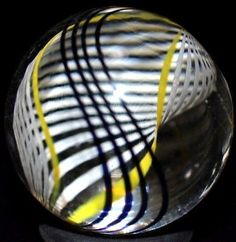 "STEVEN MASLACH HANDMADE GLASS MARBLE/.900""-WHITE LACE SAIL-BLACK,YELLOW, & WHITE"