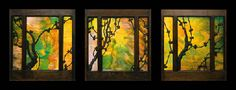 A THREE-PART LEADED GLASS WINDOW Designed by Charles and Henry Greene for the Adelaide Tichenor House, Long Beach, California, circa 1904  each panel 24 x 22in. (62.2 x 55.8cm.), in original sash   mounted together in lightbox 27.1/8in. (68.9cm.) high, 76in. (194.3cm.) long, 7in. (17.8cm.) deep