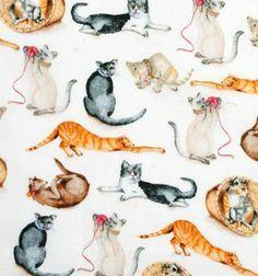 Tecido para Patchwork -  Cats Playing -