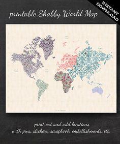 "Printable World Map - 16"" x 20"" Shabby Chic PDF - Nursery Decor Homeschool Classroom Geography by GeeklingBooks on Etsy https://www.etsy.com/listing/191988007/printable-world-map-16-x-20-shabby-chic"