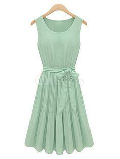 Sweet Light Green Linen Ruffles Pleated Scoop Neck Sleeveless Skater Dress - Milanoo.com $31.99