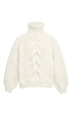 BOUGHT! White Wool Cropped High Neck Cable Knit Sweater by I Love Mr. Mittens Now Available on Moda Operandi