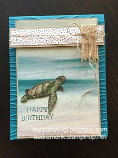the crafty yogi: A Beachy Birthday Card, From Land to Sea stamp set, Serene Scenery DSP pack, Stampin' UP