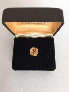 Vintage Swank Tie Tack Initial B 14k Gold in Original Box Square Round #Swank #TieTack