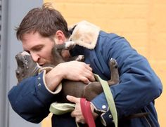 Tom Hardy cuddles a puppy on the set of Animal Rescue|Lainey Gossip ...