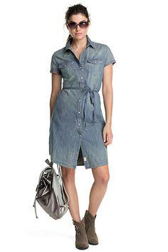 Esprit / denim dress with short sleeves