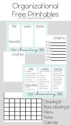 Organization Board Family Command Center - Girl Loves Glam Organizational Free Printables including cleaning list, blank cleaning list, menu, notes and calendar on Organisation Hacks, Storage Organization, Family Organization Wall, Command Center Kitchen, Family Command Center, Memo Boards, Printable Planner, Free Printables, Cleaning Schedule Printable