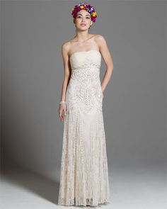Sue Wong Ivory Lace Gown... Bride or bridesmaid?... If bridesmaid it MUST be in a different shade less to white...