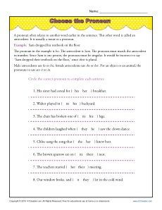Printables Pronoun And Antecedent Worksheet pronouns and antecedents worksheets pronoun agreement worksheet activity choose the pronoun