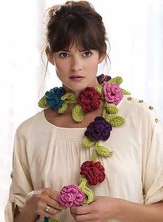 Ravelry: Belle Fleur Scarf pattern by Michele Wilcox Crochet Flower Scarf, Crochet Scarves, Crochet Shawl, Crochet Clothes, Crochet Flowers, Free Crochet, Knit Crochet, Floral Scarf, Crocheted Scarf